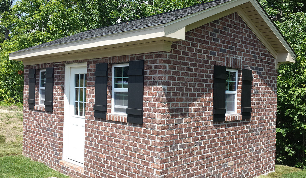 Brick high wall shed twelve by sixteen