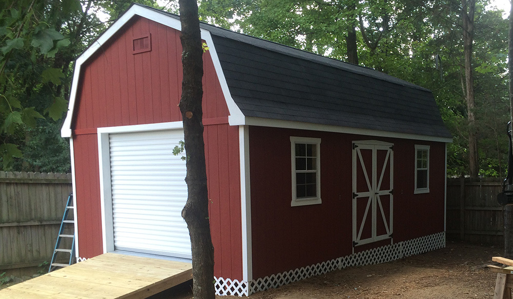 Dutch barn shed red white